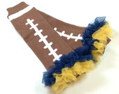 Football Leg Warmers with Gold and Navy Ruffle, Ruffled Leg Warmers Infant, Baby, Toddler, Preteen, Arm Warmers