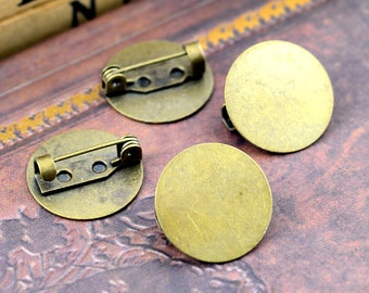 5Pcs High Quality Antique Bronze Cabochon Pendant Base Brooch