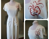 Vintage 1940s White Linen Dress with Red Embroidery Flowers - near MINT