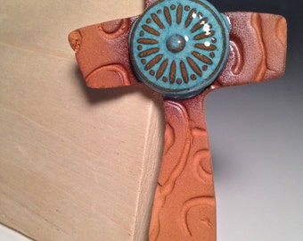 Handcrafted Pottery Cross Ornament Ceramic Christmas Christian Handmade Southwest Terra-cotta Clay Turquoise Arizona Wall Hanging Collection