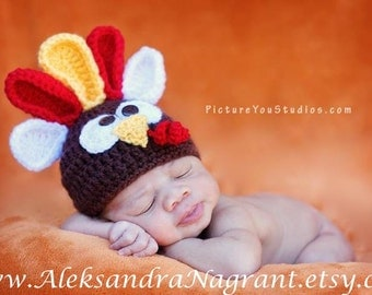 TURKEY BABY HAT - Photo Prop -Baby/ Newborn - Thanksgiving Hat - acrylic - Made To Order