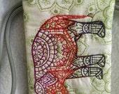 Embroidered Mehndi Elephant Wristlet (Slim)