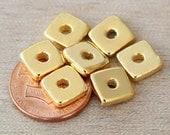 10 pcs Mykonos Ceramic Beads, 24K Gold Plated, 8mm Square Washer - eM08SWG