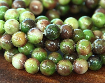 Mountain Jade Beads, Olive Green and Brown Mix, 8mm Round - 15.5 Inch Strand - eMCJ-412-8