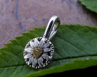 Daisy and Flower Pendants Sterling Silver and Gold Necklace Hand Engraved Pendant