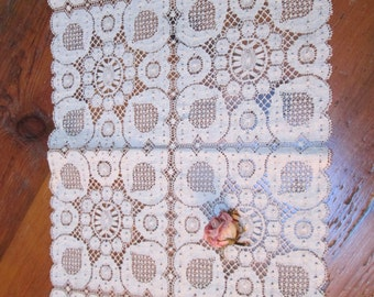 lace vintage lace dresser scarf shabby chic cottage lace cream lace runner cottage lace runner by hermina's cottage