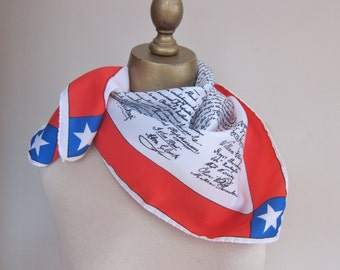 American July 4th scarf Declaration of Independence reproduction vintage scarf