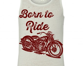 NEW Womens Vintage Indian MOTORCYCLE Born to Ride Print Alternative Apparel Seventies Racer Tank More Colors S M L