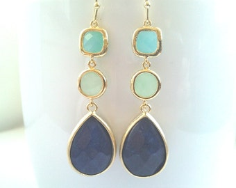 Navy Earrings, Mint with Blue Agate Drop Earrings, Dangle, Earrings, bridesmaid gifts,Wedding Earrings, Bridal Jewelry, Chirstmas Gifts