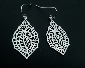 Paisley Diamond Drop Silver  ,Drop, Dangle, Earrings,bridesmaid gifts,Wedding jewelry, gift, cocktail jewelry