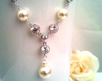 Wedding Jewelry,Pearl and Rhinestone Statement Necklace,Beadwork Necklace,dange earrings, BrideMaid Gift,Bridesmaid Jewelry