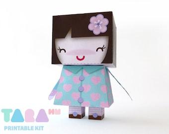 DIY Printable Cutout Doll, DIY Paper Doll, Kawaii Printable Doll, Green Doll TaraDoll, Instant Download Paper Doll, Educational Toy, Art Toy