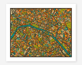 PARIS MAP, Giclee Fine Art Print, Modern, Pop Wall Art for the home Decor by Jazzberry Blue
