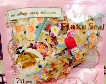Pretty Rabbits STICKER FLAKES 70 Pcs