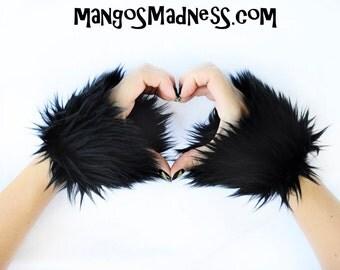 black faux fur, furry wrist cuffs, mittens, hand warmers