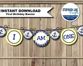 Nautical High Chair Banner, Anchor High Chair banner, I am ONE banner Sailor, Turning One Birthday Party PRINTABLE girl boy INSTANT download