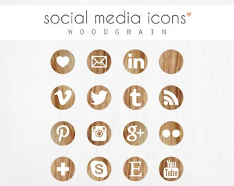 "social media icons + ""pin it"" button: WOODGRAIN"