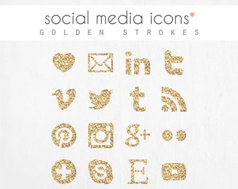 "social media icons + ""pin it"" button: GOLDEN STROKES"