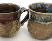 Two 7.8-OZ Handmade Stoneware Mug with Reduction Glaze.
