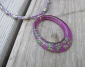 JEWELRY SALE-Purple, Green, Silver Necklace-  Beaded Necklace with Large Pendant- only 1 available