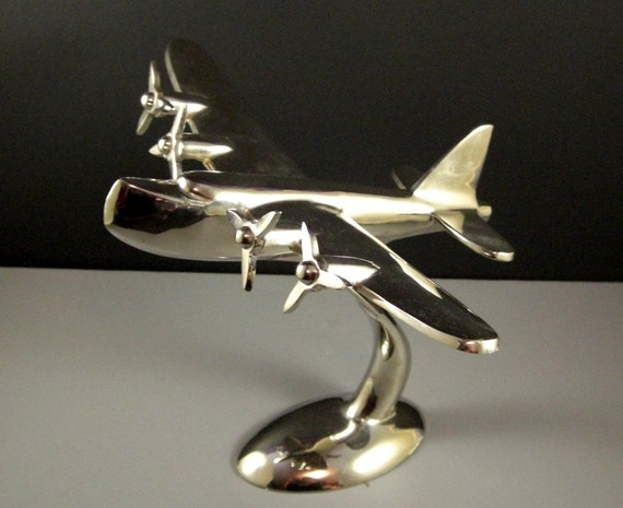 Desk Model Sea Plane Art Deco Polished Aluminum Airplane