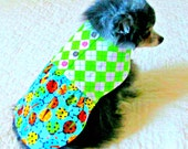 Pet Clothes - Pinwale Corduroy Toy Breed Small Dog Dress - Made to Order w/Lime & White Argyle Bodice and Multicolored Ladybug Print Skirt