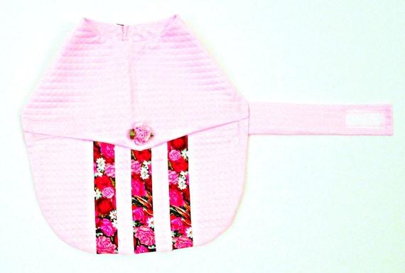Toy Teacup Small Dog Dress Pink Seersucker Victorian Rose Ribbon Satin Rose - Made to Order Pomeranian Yorkie Shih Tzu