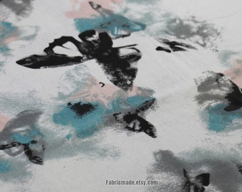 Butterfly Linen Cotton Fabric White Cotton Linen Fabric with Chinese Ink and Wash Painting Butterfly  -1/2 yard