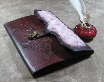 Mahogany Dyed  Leather Journal with carved dragonfly and flowers and a pink curly fur front flap