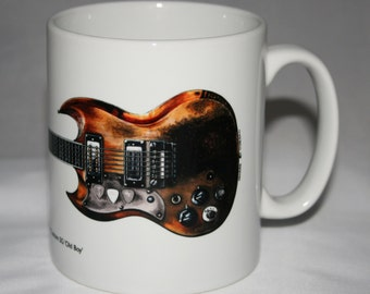 Guitar Mug. Tony Iommi's Jaydee Custom SG guitar illustration.