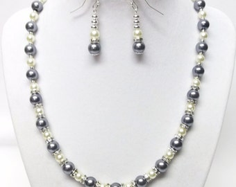Gray & Cream Glass Pearl w/Rondelle Crystal Rhinestone Bead Necklace and Earrings Set