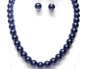 Dark Lapis Glass Pearl Necklace & Earrings Set
