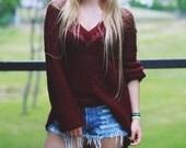 Knitted Sweater Handmade Burgundy Dark Red Grunge Rock Oversize