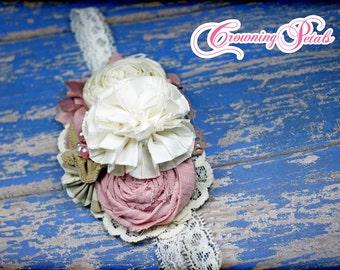Blush, Cream Hair Piece, Dusty Rose, Mauve Pink, Tan, Ivory Headband, Fabric Flowers, Hair Accessories, Hair Bow, Fabric Flower Brooch