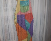 VTG SACRED THREADS Multi Color Sz Small 100% Cotton Bib Overall Jumper