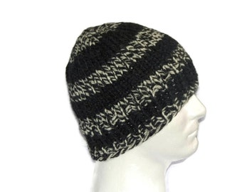 Warm Winter Beanie Hat, Grey & White, Mens Hat