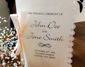 Wedding Program with Lace Cutout Edge and Bow