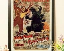 King Kong vs Godzilla Poster Movie Japanese II - Vintage Japan paper Dictionary Print