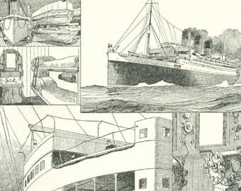 1922 Vintage boat poster Boat print Ocean liner Boat gift Vintage steamship print Marine decor Boat decor Sea decor Nautical boat decor