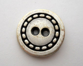 "Antique-finish pewter-color metal button with ""stitch"" detail, medium size"