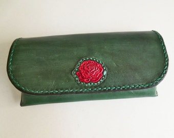 Suede lined green leather eyeglasses case, red rose