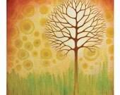 Orange Glow Tree Art Card by Asheville, NC Artist Jennifer Barrineau