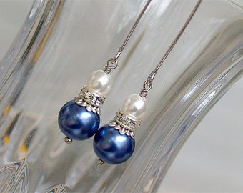SALE Navy Earrings - Navy White Pearl Earrings - Long Dangle Earrings - Blue Pearl Earrings - Gift for Her, Navy Bridesmaid Earrings