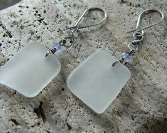 Genuine Sea Glass and Tanzanite Earrings