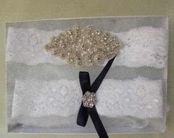 Wedding Garter Set- Crystal Rhinestone on a white Lace