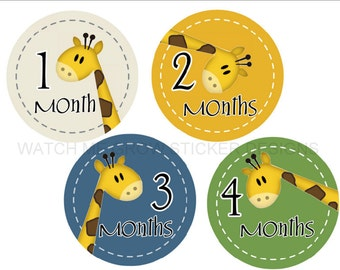 Baby Milestone Stickers Monthly Stickers Giraffes Month Stickers Monthly Baby Stickers Baby Month Stickers Baby Shower Gift Boy Photo Prop