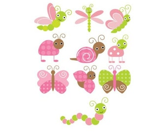 Set of 10 Iron On Heat Transfers.. Bugs and Butterfly Gardem  Appliques for  Baby Girl Showersies