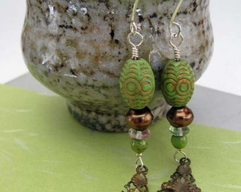 Fern Earrings - vintage Deco dangle - green bronze - verdant springtime