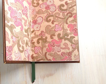 Journal: Notebook, Brown, Floral, Leather Like, Bound, Hand Sewn, Gift, Unique, Wedding, One of a Kind, For Her, For Him, Blank, Unlined