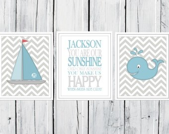 Nautical Nursery Prints  - 3 Print Set -  Nursery Decor -  Custom Colors -  Gray & Blue Nursery Decor
